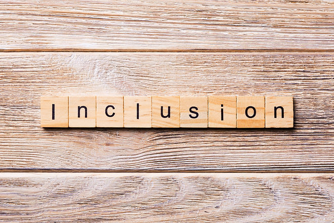 Inclusion word written on wood block. In
