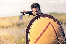 Portrait of fighting ancient warrior in