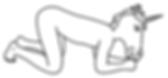 Mistress Furia Fuego, Madrid, ilustración de la sección Galería, Mis Sesiones. Sumiso desnudo, a cuatro patas, con máscara de unicornio.