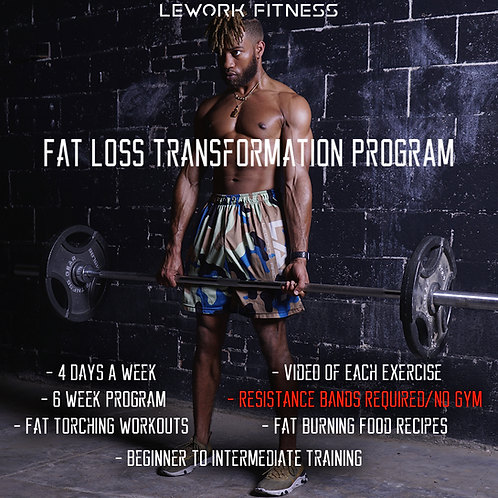 LÉWORK 6 WEEK FAT LOSS/TONING PROGRAM (NO GYM REQUIRED/RESISTANCE BANDS REQUIRED