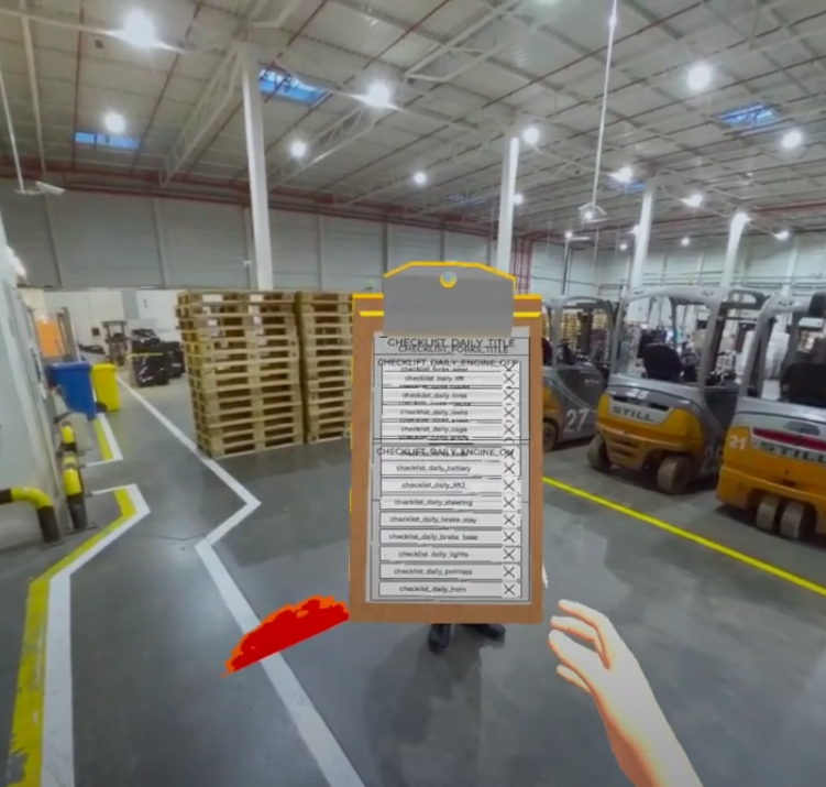 wózki widłowe fork lift virtual reality