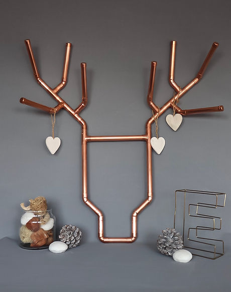 Industrial copper pipe stag head wall hanging