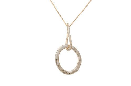 Nouveau Hammered Circle Necklace
