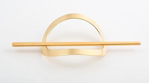 Tiger Eye Oval Stick Slide Barrettes (Gold Matte)