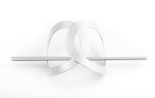 Infinity Stick Slide Barrettes (Silver)