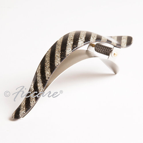 Maximas French Acetate Glittery Silver Black Stripe