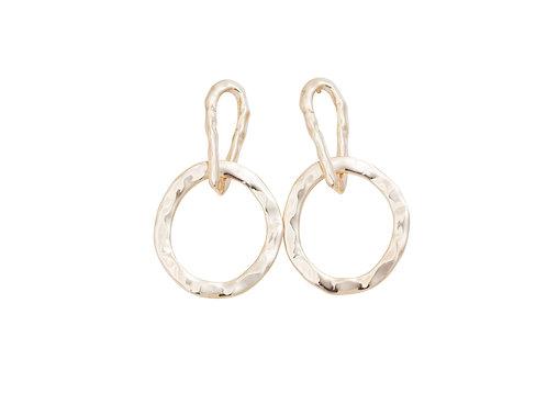 Nouveau Hammered Circle Stud Earrings