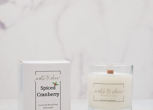 Large Wood Wick Spiced Cranberry