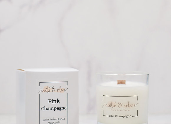 Large Wood Wick Pink Champagne