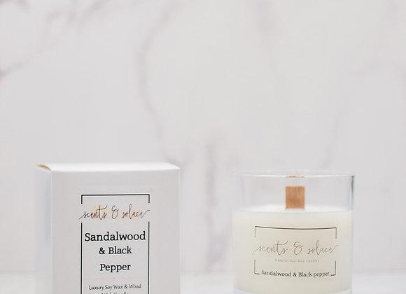 Large Wood Wick Sandalwood & Black Pepper