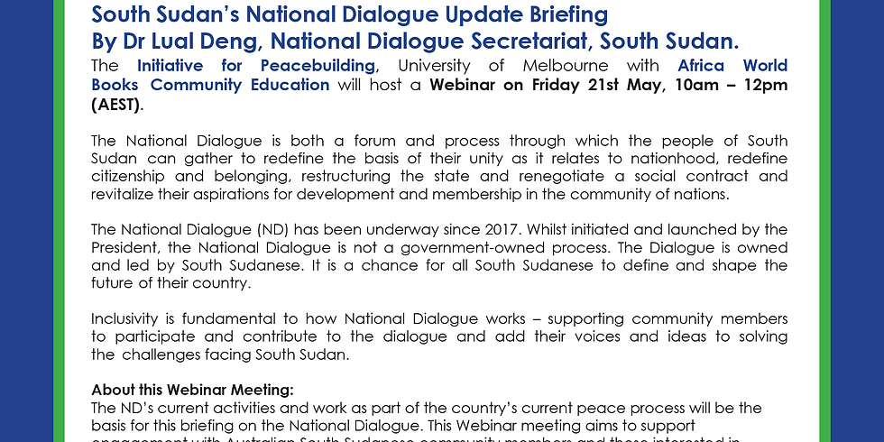 South Sudan National Dialogue Update Briefing