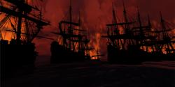 The Dutch fleet ablaze