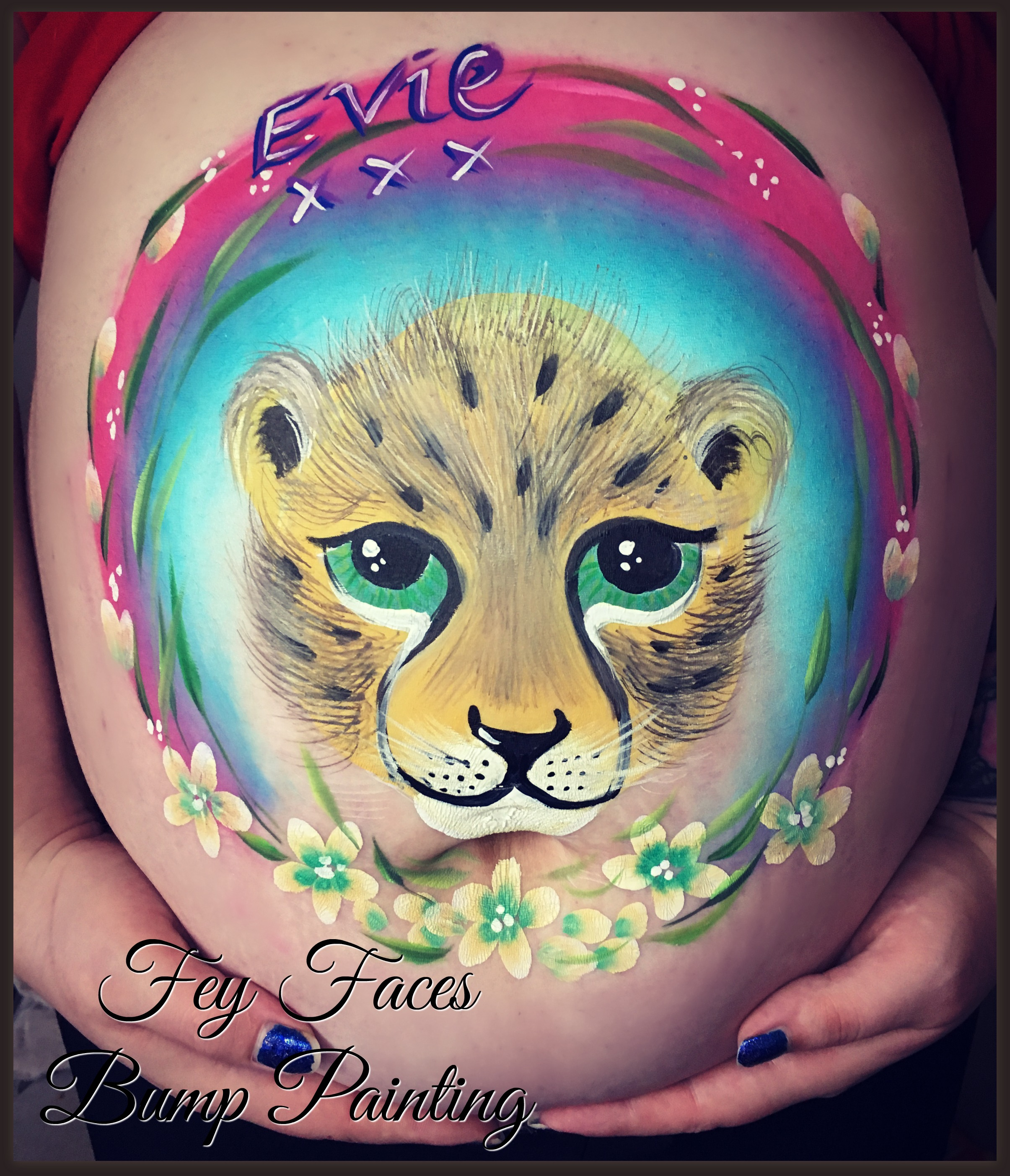 Leopard cub bump painting