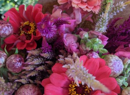 Pink flowers, dumpling squash and challah