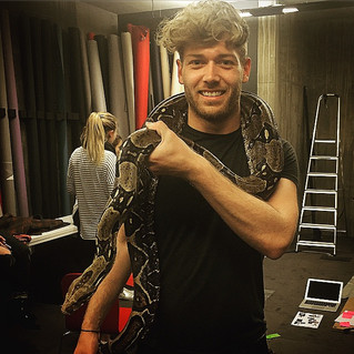 Behind the scenes with the prop snake