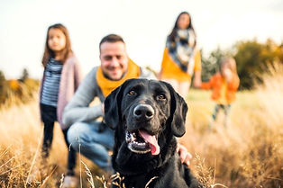 family and black lab  Stock-1082713202.j
