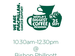 Join us this Friday for Macmillan Cancer Support's World's Biggest Coffee Morning!