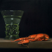 """Crayfish and Berkemeyer Glass Oil on Masonite Panel, 8"""" x 10"""" 2018 Private Collection"""
