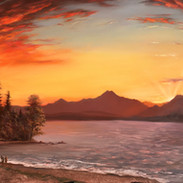Sunset over the Puget Sound, Oil on Panel, 18 x 36, Available