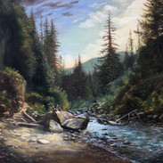 Snoqualmie River at Franklin Falls,  Oil on Panel, 17 x 20, Winner of the People's Choice Award, Mountlake Terrace's 40th Arts of the Terrace, 2018, Available