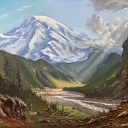 Mount Rainier and the Nisqually River, Oil on Panel, 24 x 32, 2019, Available