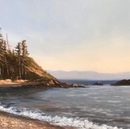 Early Evening, Rosario Beach, Oil on Panel, 8 x 14, 2019, Private Collection