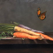 """Still Life with Carrots Oil on Panel, 12"""" x 16"""" 2020 Private Collection"""
