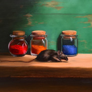 """Mouse with Pigments Oil on Panel, 9"""" x 12"""" 2020 Available through www.goetzeartanddesign.com/"""