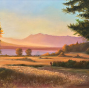 """September Sunset, Discovery Park Oil on ACM Panel, 12"""" x 20"""" 2018 Collection of the Artist"""