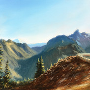 View from Sunrise Point Lookout, Mt. Rainier, Oil on Panel, 9 x 12, 2018