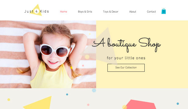 Barn & bebisar website templates – Boutique för barn
