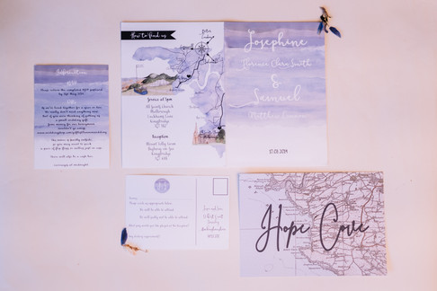 Blue beach wedding invitations