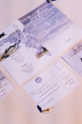 Blue coastal wedding invitations