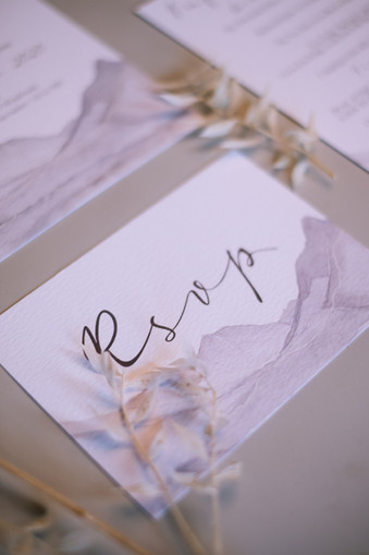 Grey moutain RSVP card wedding stationery