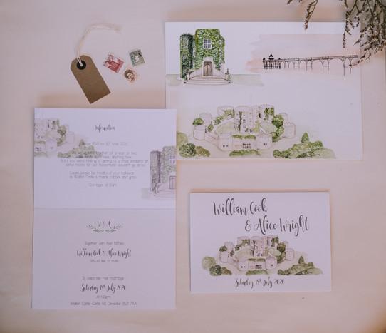 Walton Castle Clevedon wedding invitations