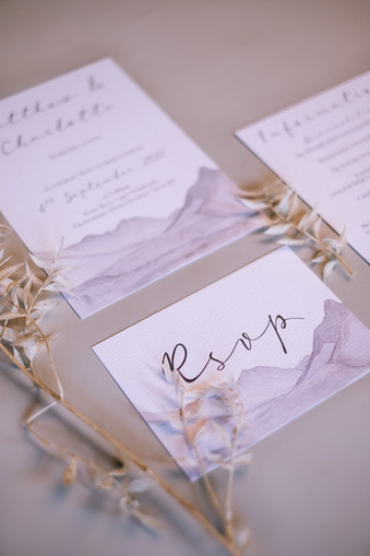 Grey mountain inspired wedding invitations