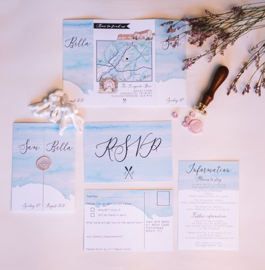 Turquoise and pink wedding invitations