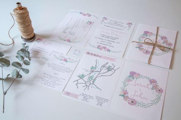 Spring floral wreath wedding invitations