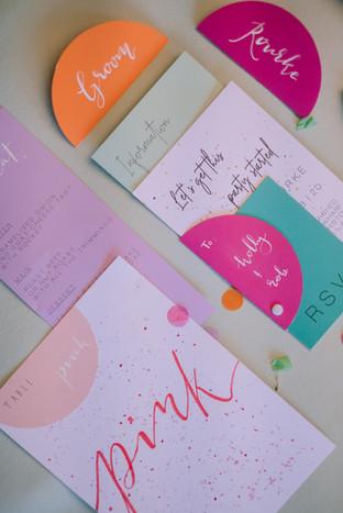 Colourful city wedding invitation