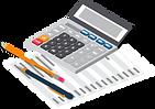 Calculadora e papel com dados e lápis