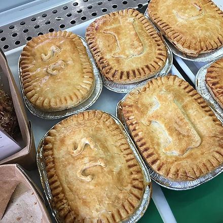 Handmade local butchers pies. Filled to