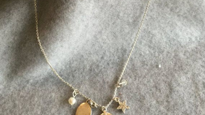 Silvertone necklace with charms