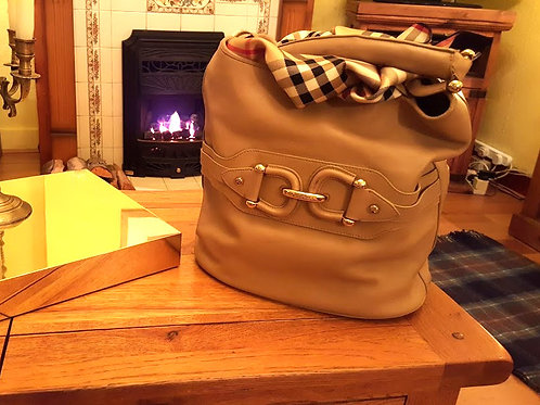 AUTHENTIC BURBERRY BEIGE LAMBSKIN HOBO  S O L D
