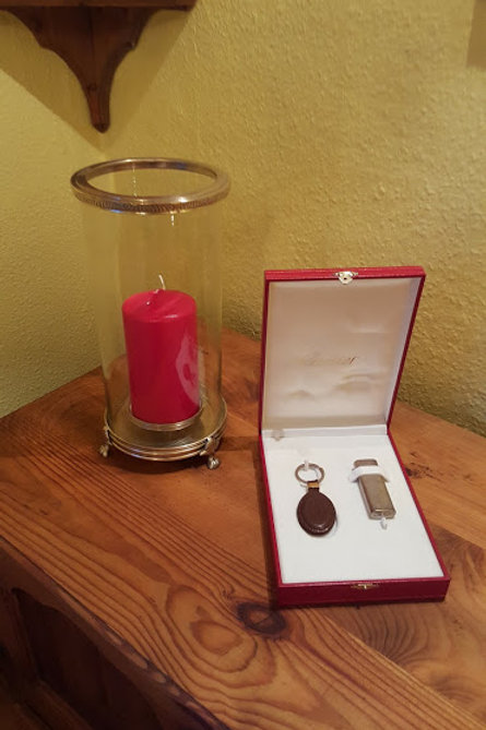 CARTIER LIGHTER AND KEYRING WITH LEATHER FOP  S O L D