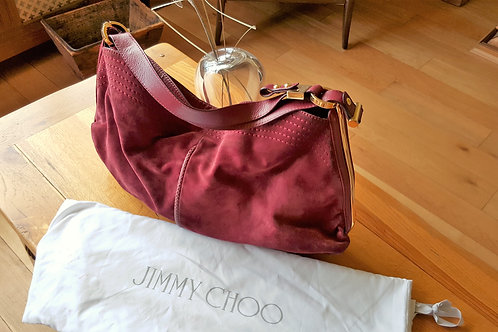 Jimmy Choo Bordeaux Suede Tote with Python trim