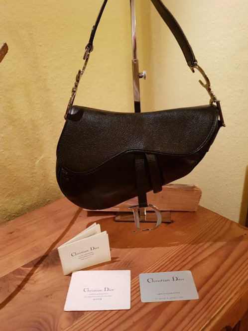 AUTHENTIC Christian Dior BLACK LEATHER SADDLE BAG    SOLD