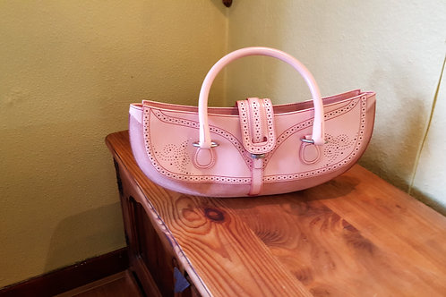 TANNER  KROLLE  HIGH SHINE PINK LEATHER AND SUEDE  PUNCH HANDBAG