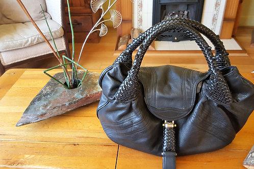FENDI  Black Leather Monogram Spy Bag