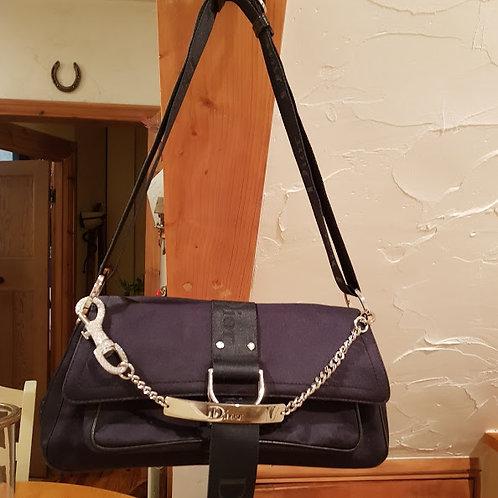 AUTHENTIC  Christian Dior BLACK CANVAS SHOULDER BAG