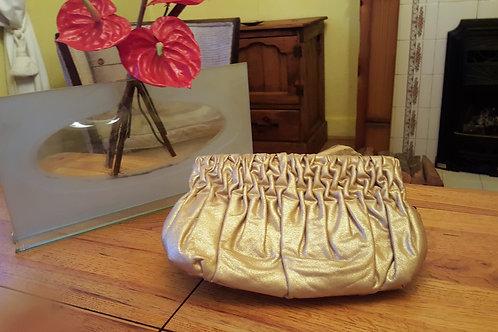 Michael Kors Metallic Gold Leather Ruffle  Clutch /Wallet/